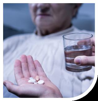 medicine on a hand
